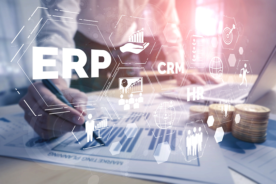 ERP software system for business resources plan presented in a graphic interface