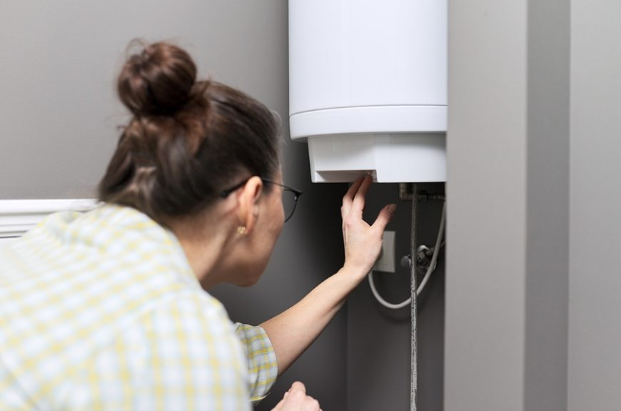 Woman checking the hot water cylinder in their home
